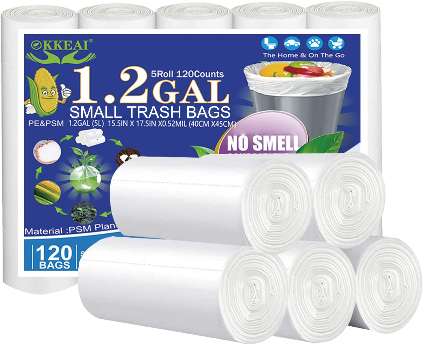 OKKEAI Small Trash Bags -1.2 Gallon Biodegradable Garbage Bags 5 Liter Trash Can Bags Wastebasket Liners for Bathroom,Office,Translucent,120 Counts Fit 5L 1.2,1.5,2Gal