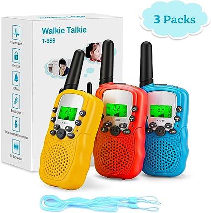 Amazon.es: Fansteck Walkie Talkie, 3 pcs Walkie Talkie Niños 8 Canales Función VOX Rango de 3KM, Juguetes de Radio con Linterna LCD Retroiluminada. Regalos Niños para Actividades Externas, Camping, Espía