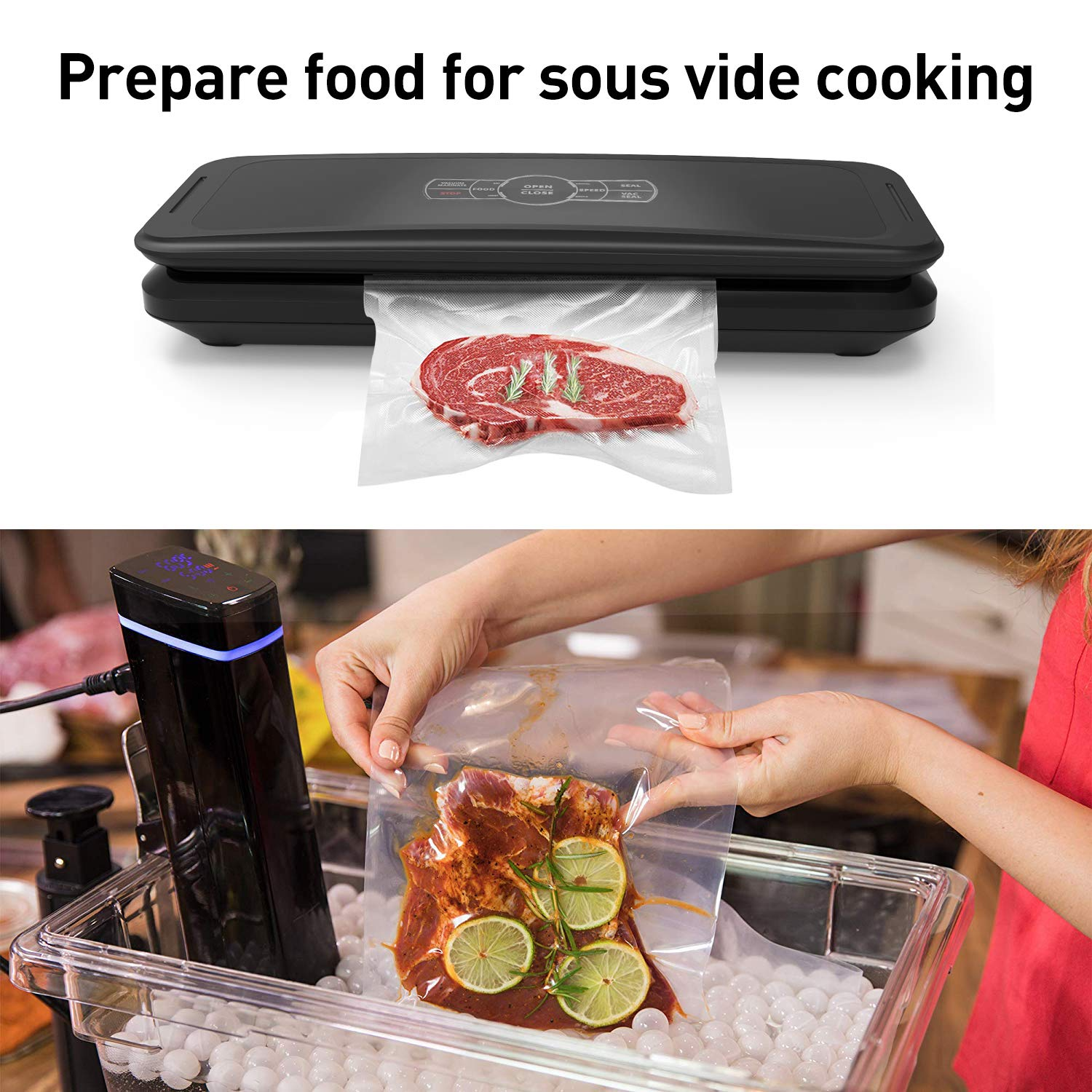 Food Vacuum Sealer Machine Full Automatic Vacuum Air Sealing System w/ Wine Stopper and Vacuum Sealer Bag Starter Kit for Food Preservation,Quick Marinate and Sous vide, Dry & Moist Modes, Safety Certified