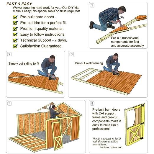 Belmont 12 pies x 16 pies. Kit cobertizo de madera con suelo incluido 4 x 4 x 4: Amazon.es: Jardín