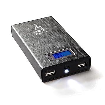Intocircuit® 11200mAh Dual USB Cargador Batería Externa Portátil con Pantalla LCD Inteligente y Linterna LED - Gris