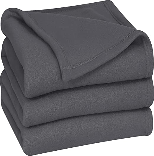 PLAIN Single Sided Super Soft Cuddle Fleece Fabric Material DARK GREY
