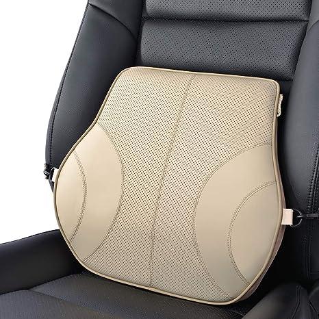 KOYOSO Cuscino Lombare Auto Cuscini per Schiena Lombare Supporto in Pelle Ergonomico Supporto Ammortizzatore Memory Cotone Beige