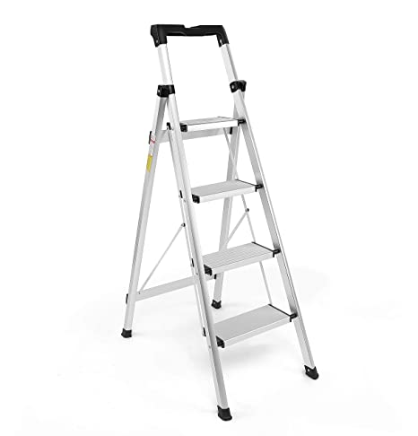 Astounding Step Ladder Folding Step Stool Lightweight Aluminum Multi Purpose Portable Home And Kitchen 4 Step Ladders With Tool Project Tray 4 Step Ladder Machost Co Dining Chair Design Ideas Machostcouk