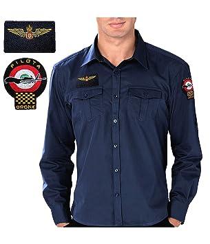 GEN.CON. Camisa Piloto Drone, Turquesa, L: Amazon.es: Deportes y ...
