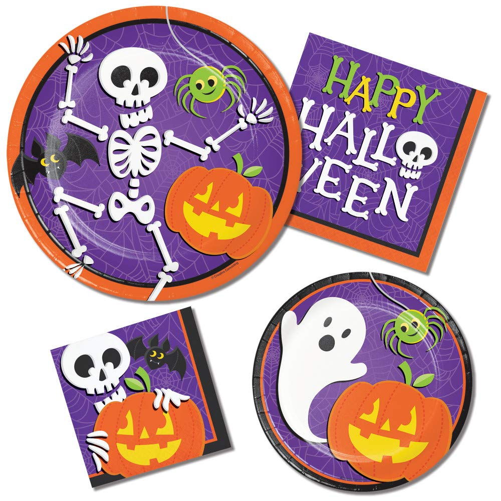 Halloween Paper Plates and Napkins Sets - Durable and Very Cute Sets of Halloween Plates and Napkins - Multiple Themes - 64 Total Pieces Per Set - Great Value (Skeleton Theme) by RLP Marketing LLC
