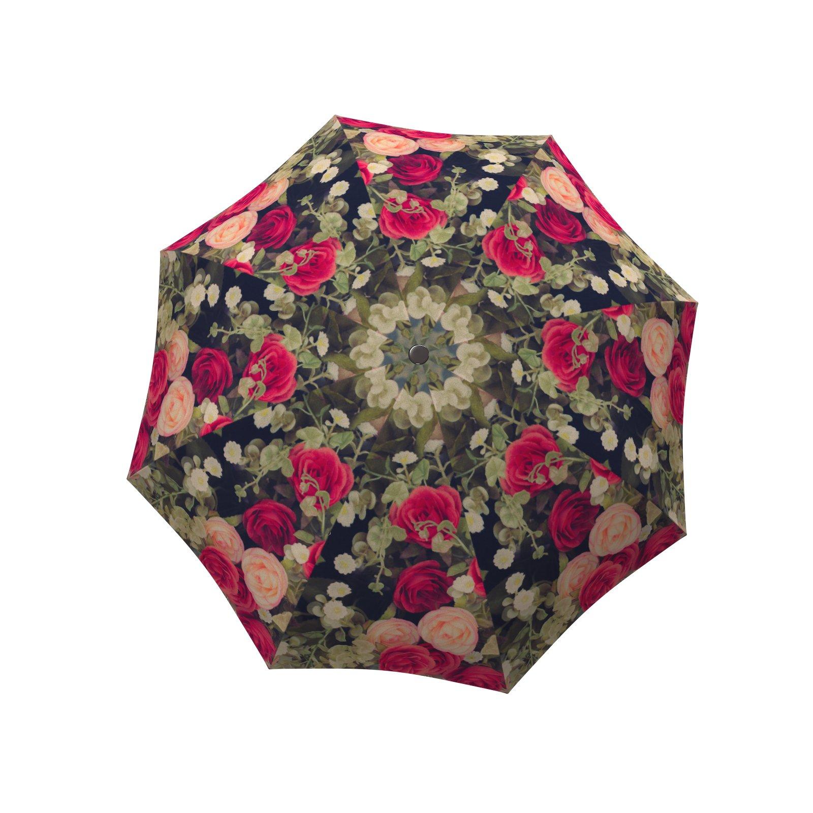 LA BELLA UMBRELLA Vintage Roses Designer Large Canopy Unique Colourful Art Fashion Umbrella - Windproof Stick Straight
