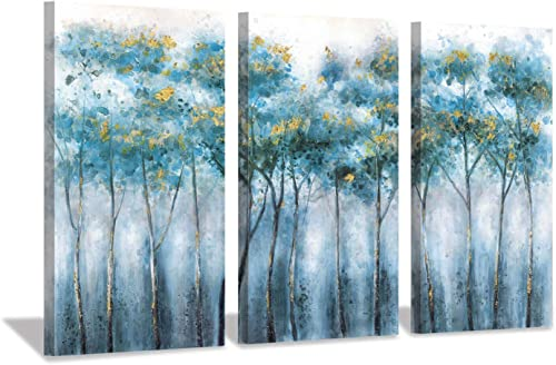 Blue Abstract Artwork Forest Pictures Tree Landscape Painting on Canvas Wall Art for Living Rooms 16 x26 x3pcs