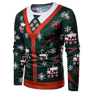 1bc36a9112283 Homme à Manches Longues T Shirt Top à Sweat Hoodie Casual Noël 3D Imprimé  Rudolph Père