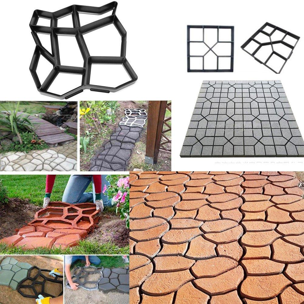 40cm x 40 cm EMVANV Plastic Path Maker Mould Reusable Concrete Cement Stone Design Paver Walk Maker Mold Manually Paving Brick Road DIY Pavement Patio Walkway