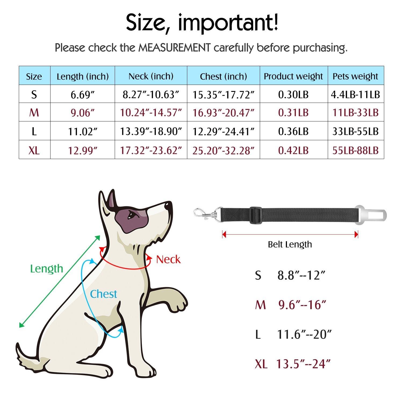 Pawaboo Cintur/ón De Seguridad de Perro 55 LBS Adjustable Vest//Harness Car Safety Adecuado para Perros de 33 LBS Talla L Reticular Azul