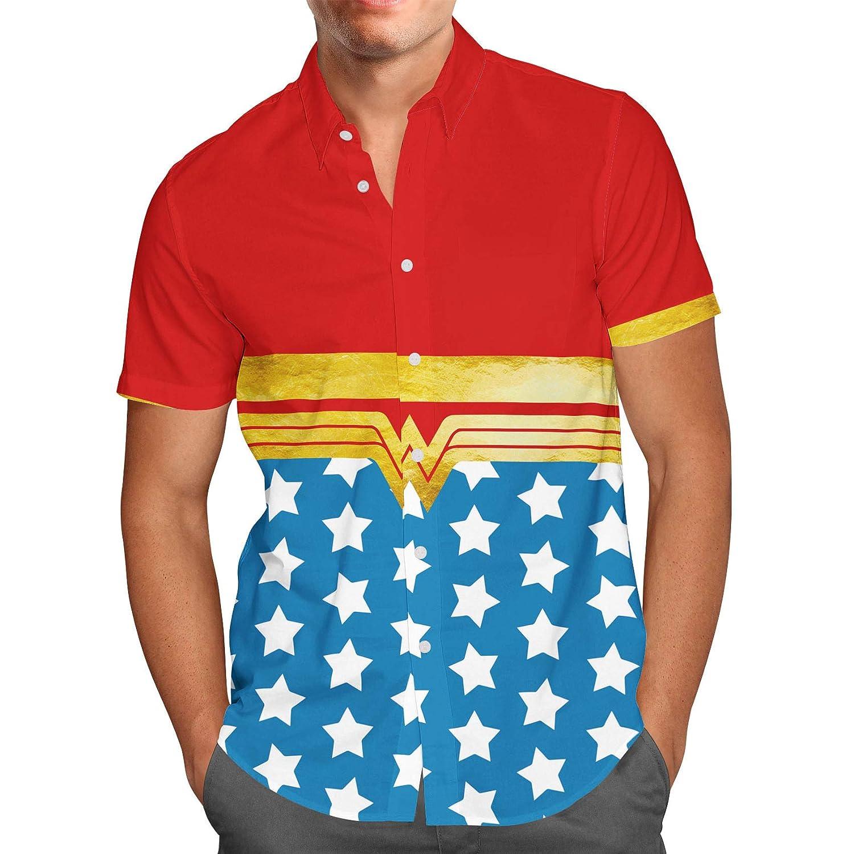 Queen of Cases Wonder Woman Super Hero Inspired Mens Button Down Short Sleeve Shirt