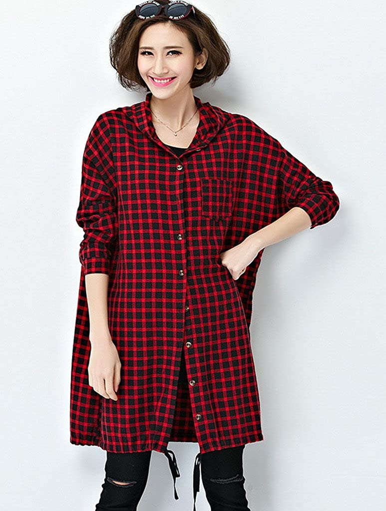 045e69b7d85 AOYOMO Women Plus Size Long Sleeve Hooded Plaid Shirt Pullover Blouse at  Amazon Women s Clothing store