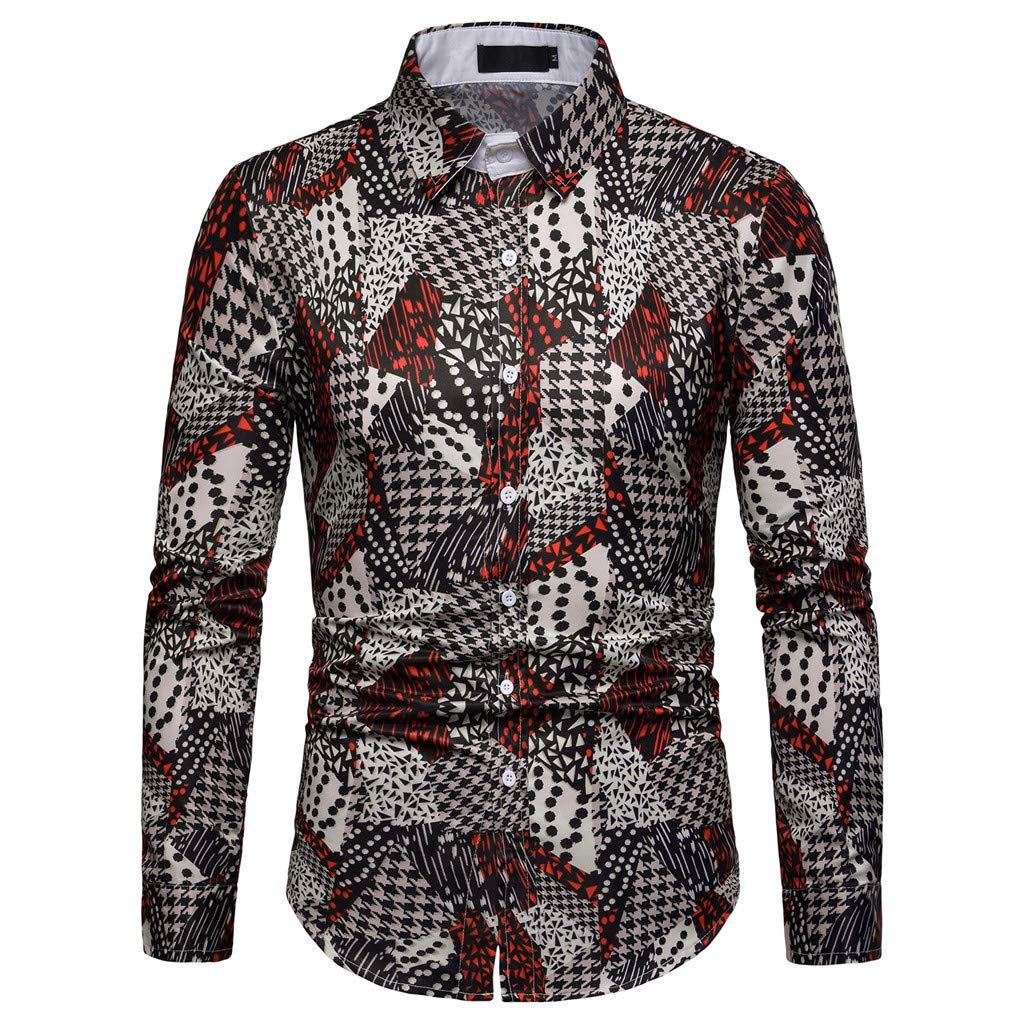 NUWFOR Men's Long Sleeve Graffiti Painting Large Size Casual Top Blouse Shirts(Multi Color,XL US Chest:45.7''