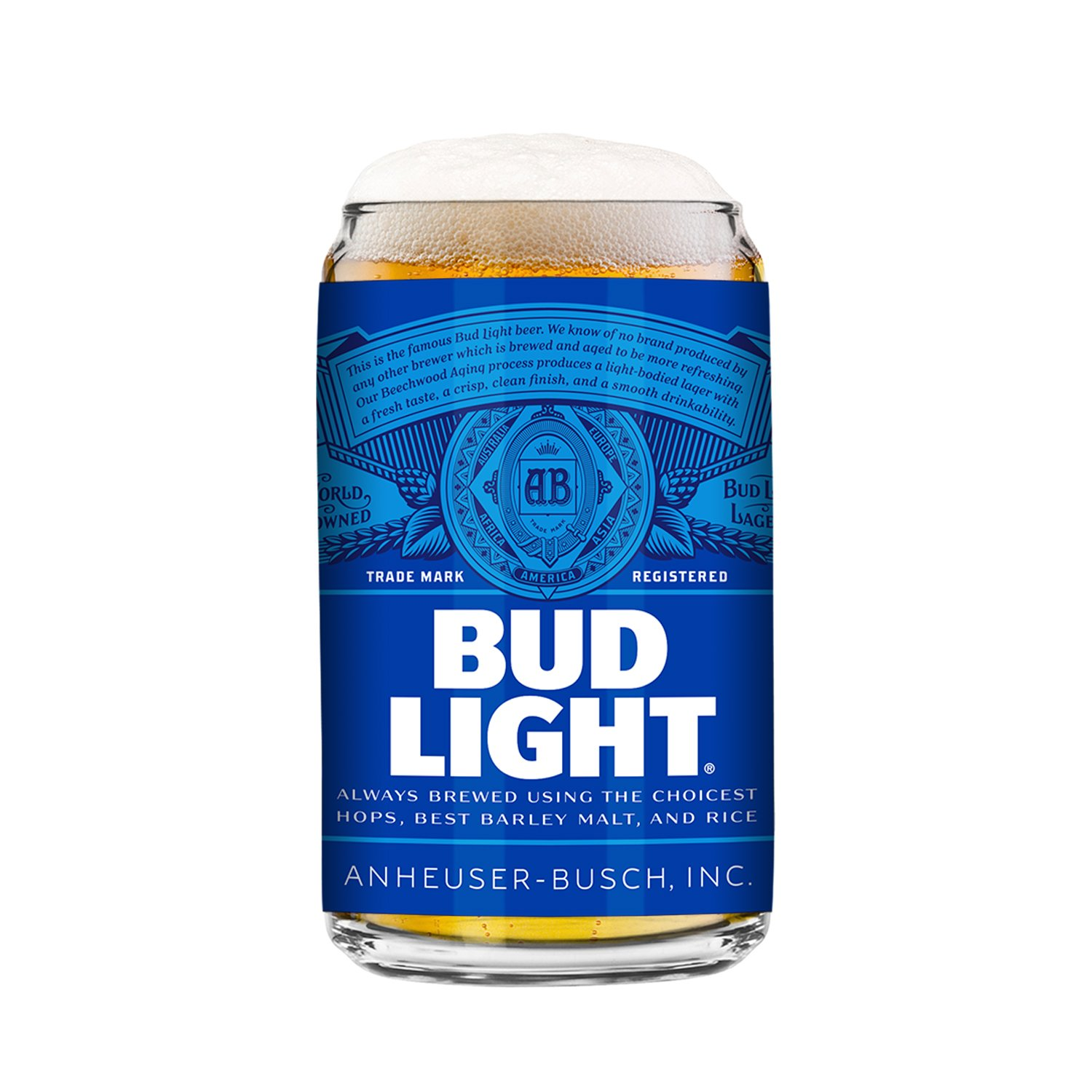 Bud Light 2-Pack Can Beer Glass, 16oz 513647