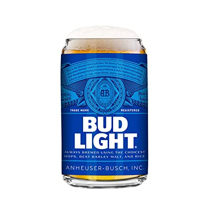 Bud Light 2 Pack Can Beer Glass, 16oz