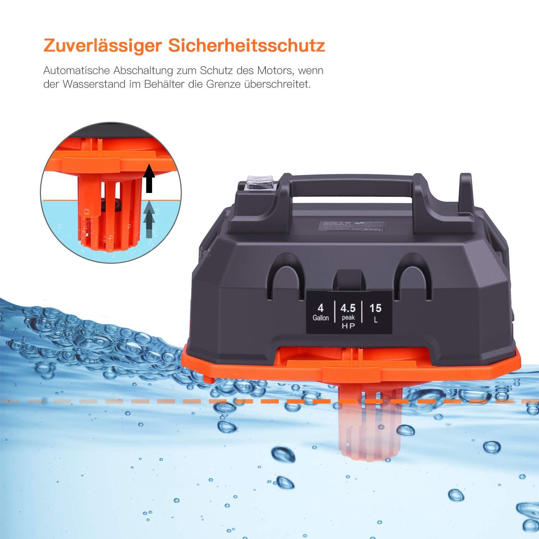 15L 1200W mit Blasfunktion /& einstellbarer leistungsstarker Absaugung Staubfilter Bodenb/ürste inkl TACKLIFE Nass trockensauger weiche Staubb/ürste -PVC01B Polsterd/üse