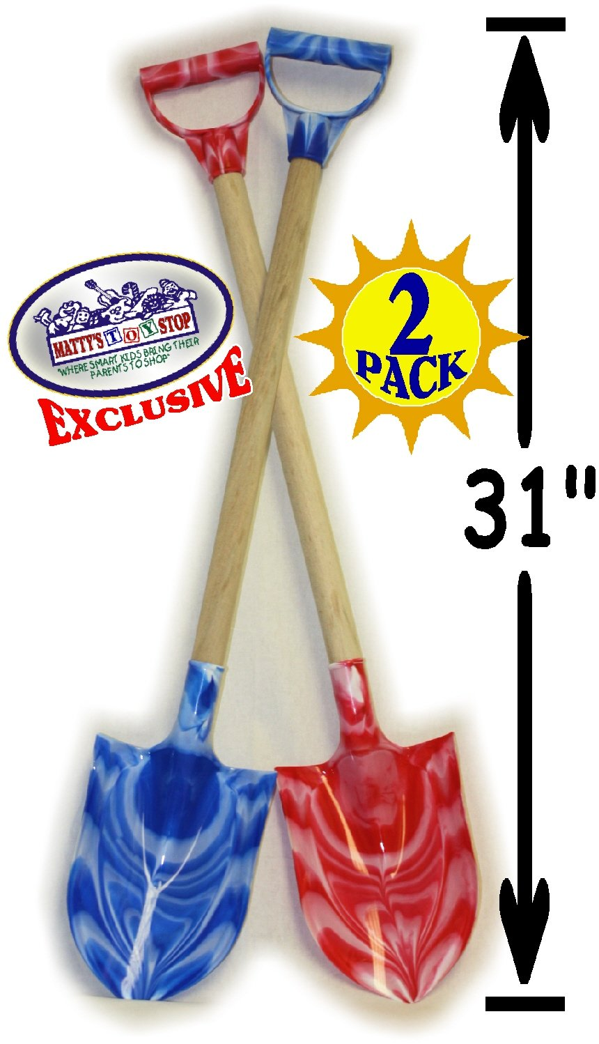 Matty's Toy Stop 31'' Heavy Duty Wooden Kids Sand Shovels with Plastic Spade & Handle (Blue Swirl & Pink Swirl) Twin Set Bundle - 2 Pack