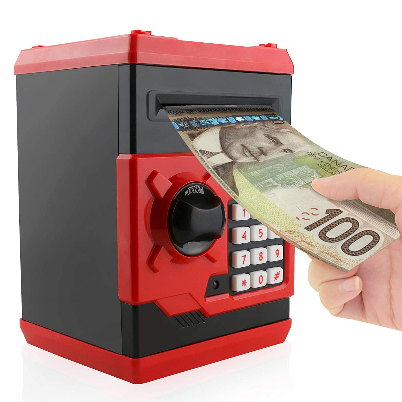 Jhua Cartoon Piggy Bank Password Electronic Money Bank Safe Saving Box ATM Bank Safe Locks Panda Smart Voice Prompt Money Piggy Box for Children/Christmas Gift (Blue)