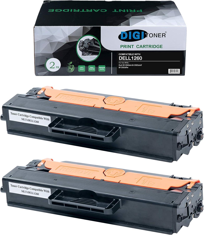 TonerPlusUSA Compatible DELL1260 DELL1265 Toner Cartridge – DELL-1260 DELL-1265 High Yield Toner Cartridge Replacement for DELL Laser Printer – Black [2 Pack]