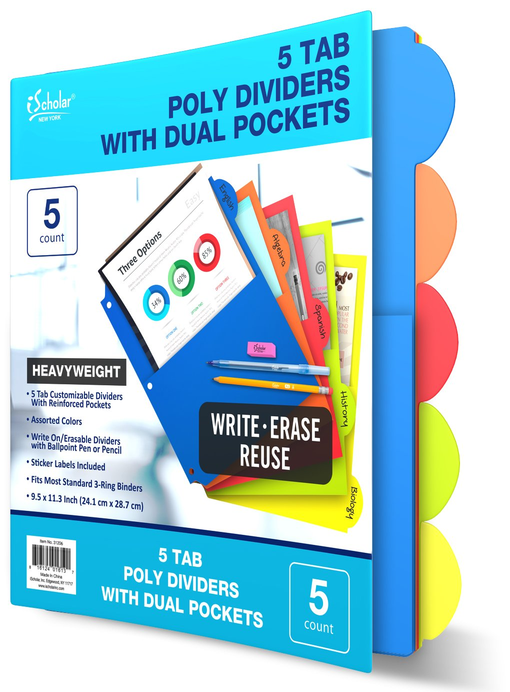 iScholar 5 Tab Poly Index Dividers with Pockets, 9.5 x 11.3'', Assorted Colors (31206)