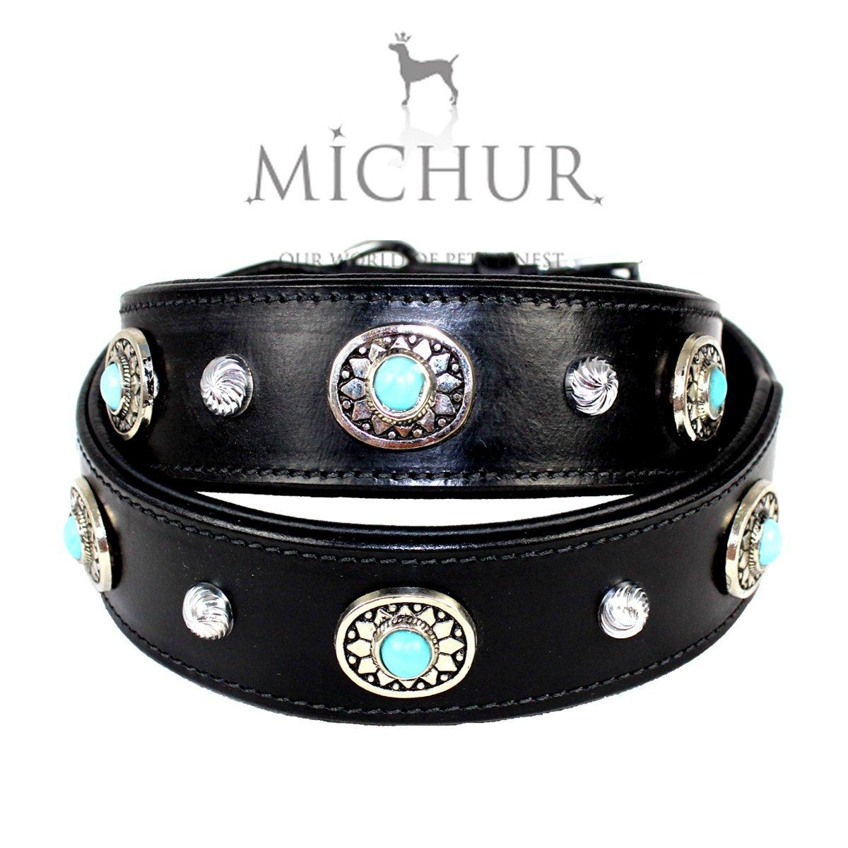 Alonzo - Collier en cuir pour chien avec pierres bleues - Couleur : noir, différentes tailles Michur