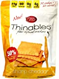 Thinables Low Calorie Crackers (6 pack) Sharp Cheddar, Healthy, Low Carb, Low Fat, Fiber Gourmet, 6 ounces, Weight Loss Snack, 24 Grams of Protein, 66 Grams Fiber