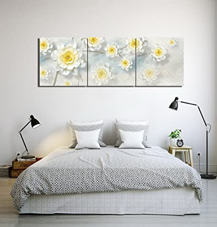 Modern floral ornament white flower wall art oil painting picture modern floral ornament white flower wall art oil painting picture print on canvas home decoration mightylinksfo