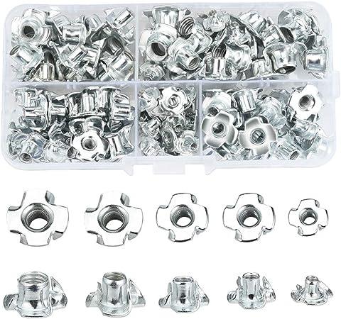 Lot de 100 /écrous en T /à quatre dents en acier carbone plaqu/é zinc pour meubles de travail en bois M5
