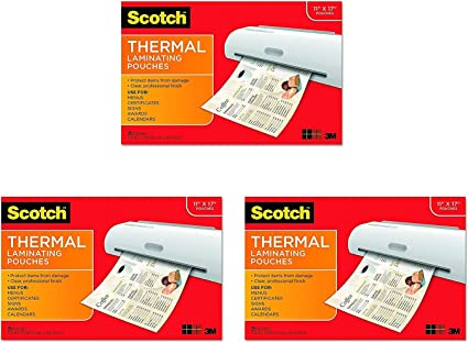 100-Pack 5 Mil Thick for Extra Protection Clear 11.45 x 17.48-Inches Letter Size Sheets 25-Pouches /& Brand Thermal Laminating Pouches Scotch Thermal Laminating Pouches 8.9 x 11.4 inches