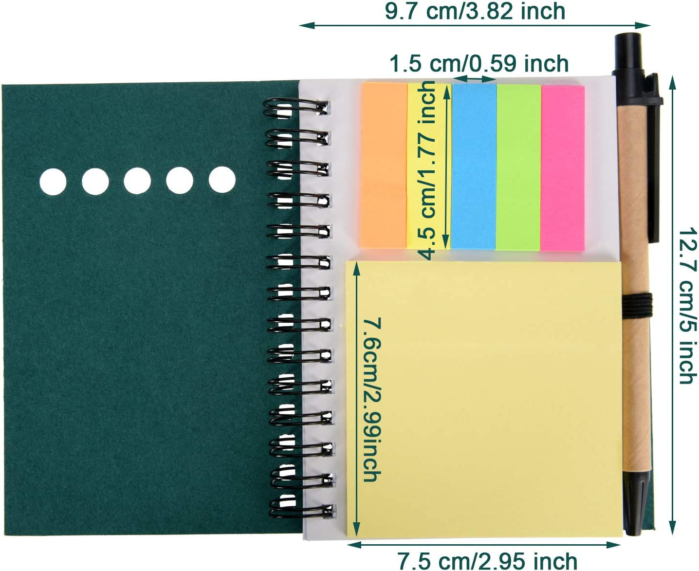 Sticky Colored Notes Page Marker Tabs Maxdot 4 Pieces Kraft Paper Steno Pocket Business Notebook Spiral Lined Notepad Set with Pen in Holder Green Cover