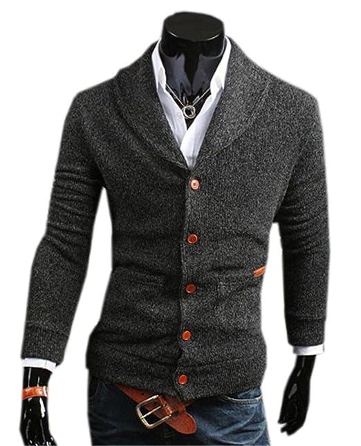 COCO clothing Otoño Primavera Cardigan Hombre Jerséis Tops con Botones Cuello en V Casual Suéter Caballero Prendas de Punto Chaquetas: Amazon.es: Ropa y ...