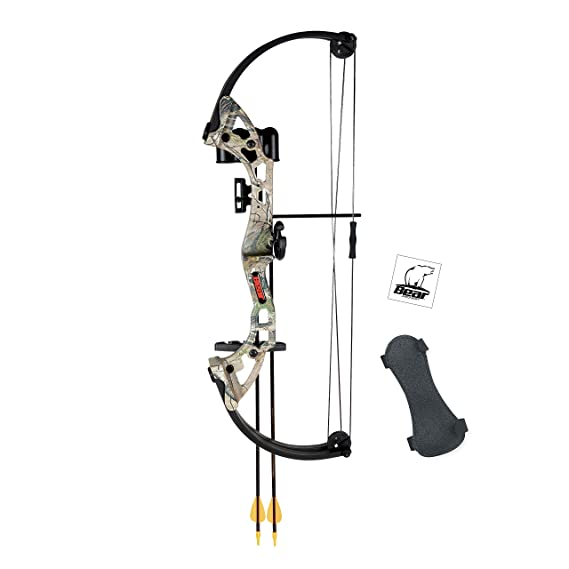 f8d984014 Amazon.com : Bear Archery Brave Youth Bow Includes Whisker Biscuit, Arrows,  Armguard, and Arrow Quiver Recommended for Ages 8 and Up - Camo : Sports &  ...
