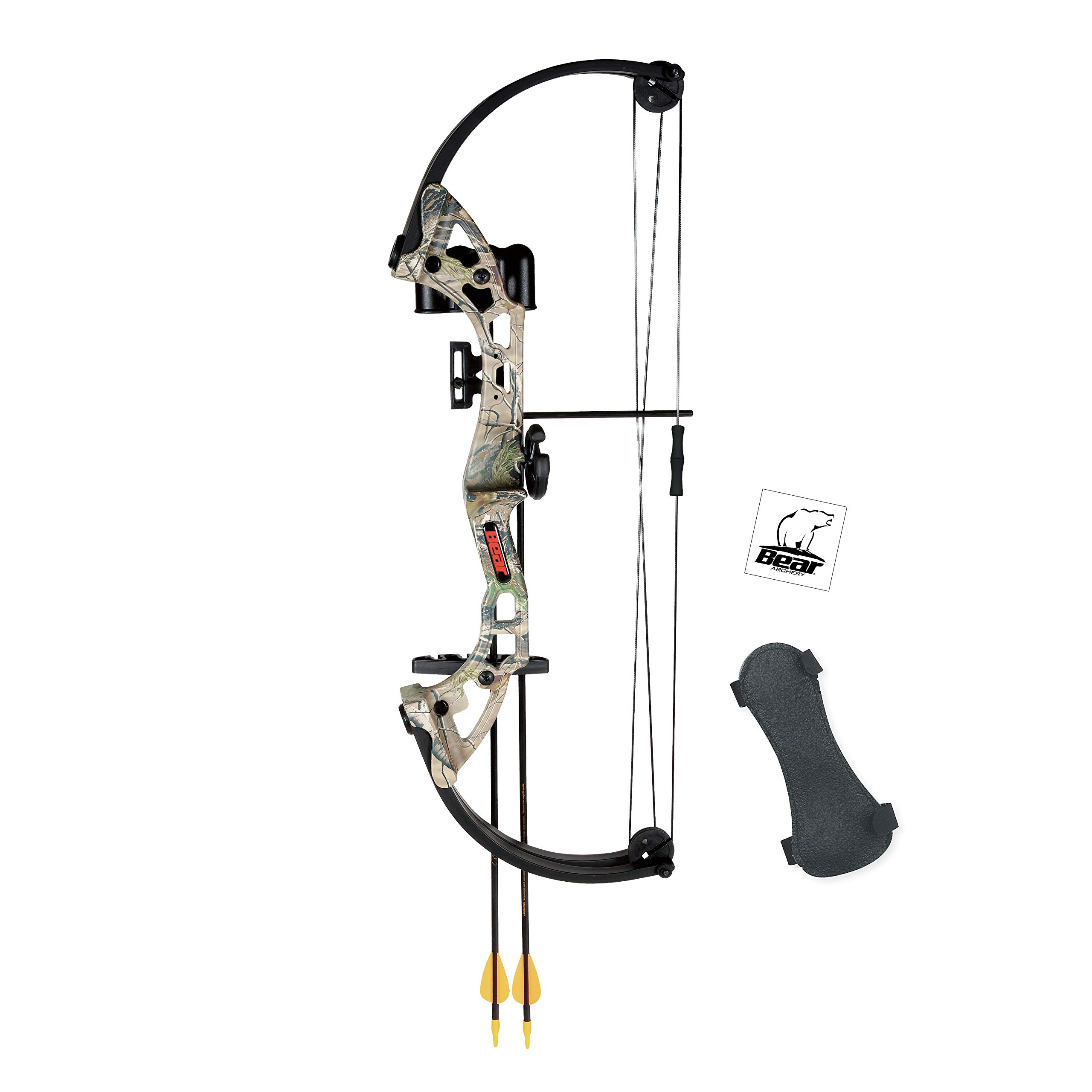Bear Archery Brave Youth Bow Includes Whisker Biscuit, Arrows, Armguard, and Arrow Quiver Recommended for Ages 8 and Up – Camo