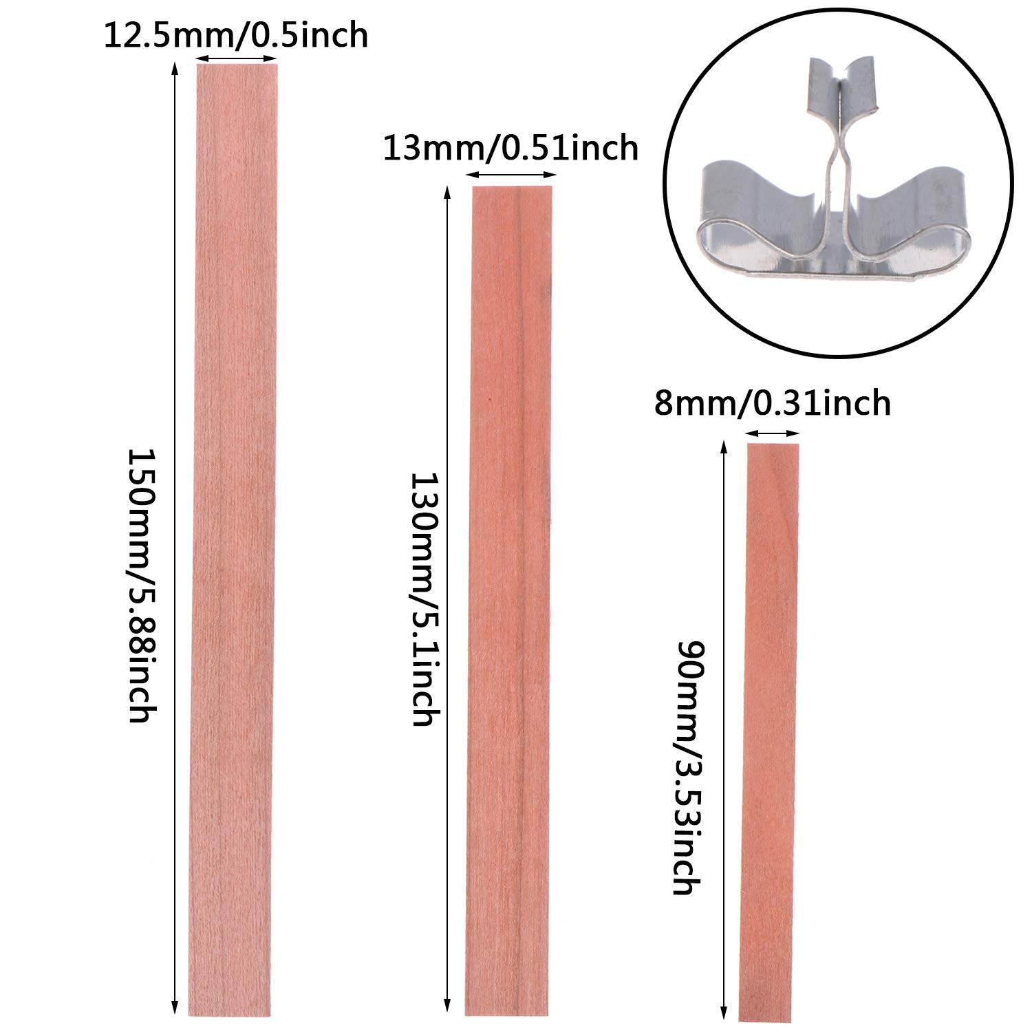 Xgood 120 PCS Wood Candle Wicks 3 Sizes Environmental-Friendly Candle Core Natural Wicks with 120 Pcs Metal Stands for Candle Making,DIY Candle Crafts 13x1.3cm+9x0.8cm +15x1.25cm