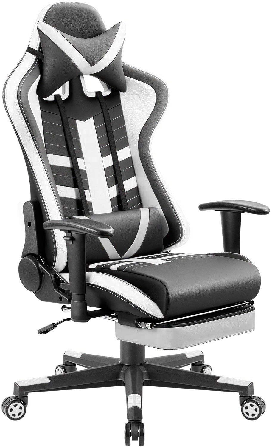 Homall Footrest Racing Style Computer Gaming Chair, White