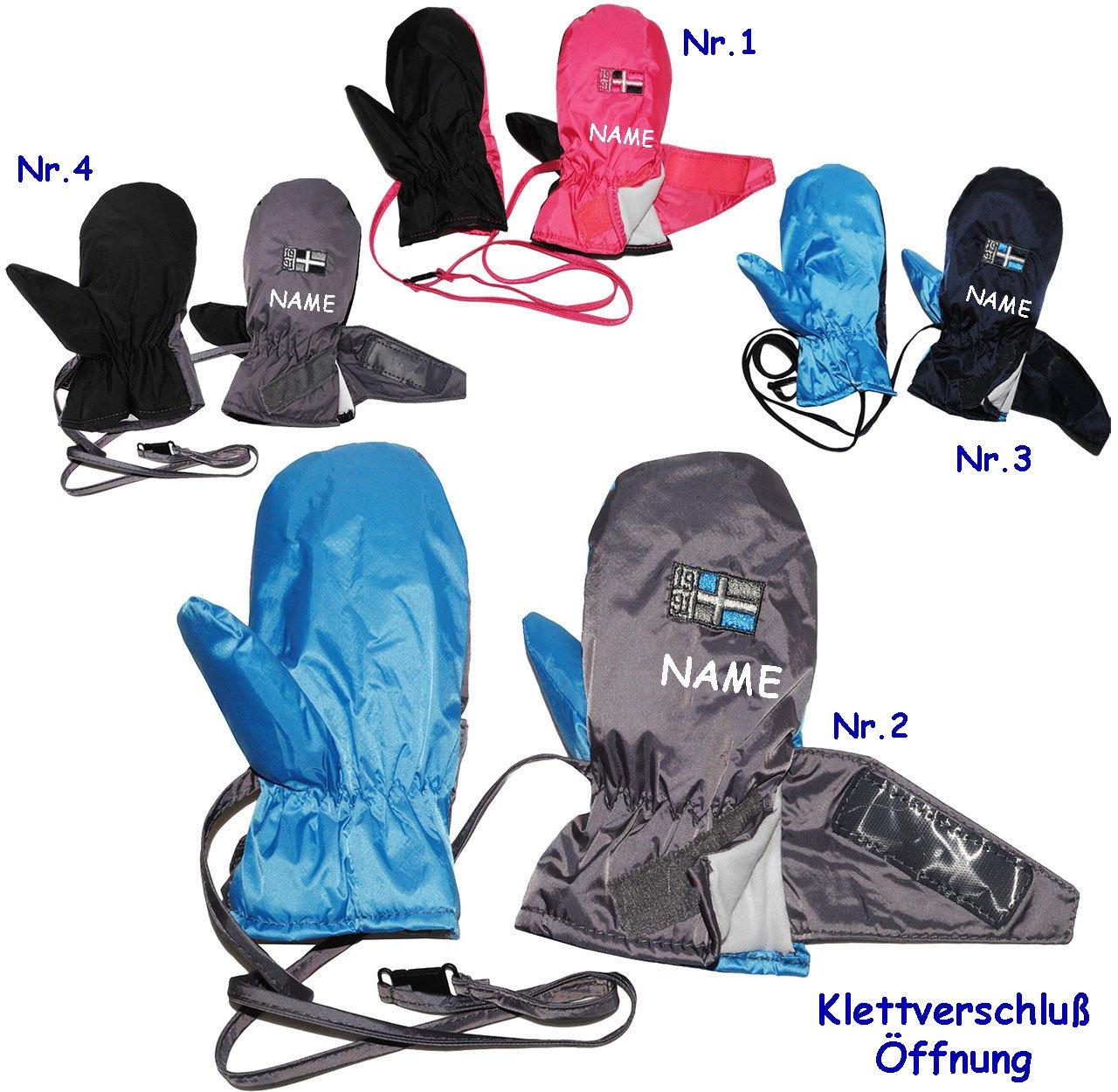 alles-meine.de GmbH Fäustlinge / Fausthandschuhe - Thermo - dunkel blau - Größe: 6 bis 12 Monate - incl. Name - LEICHT anzuziehen - mit Klettverschluß & langem Schaft - Baby ..
