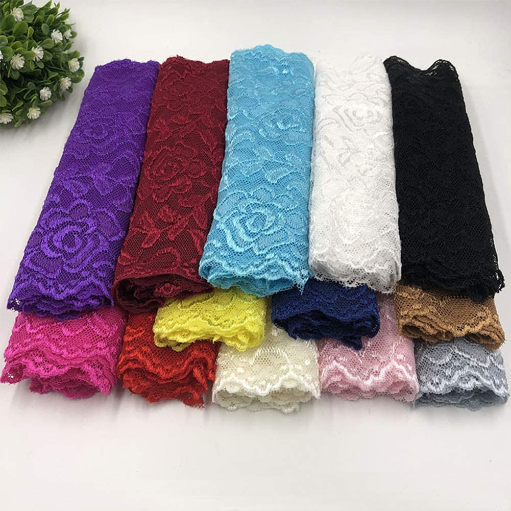 Feelmate 6in 10Yard Soft /& Stretch Navy Lace Roll Runner for Wedding Clothes or DIY Craft Decoration