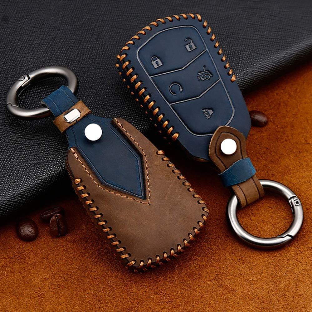 ontto 4-Button Key Fob Cover for Cadillac Keycase Holder Skin Premium Leather Blue