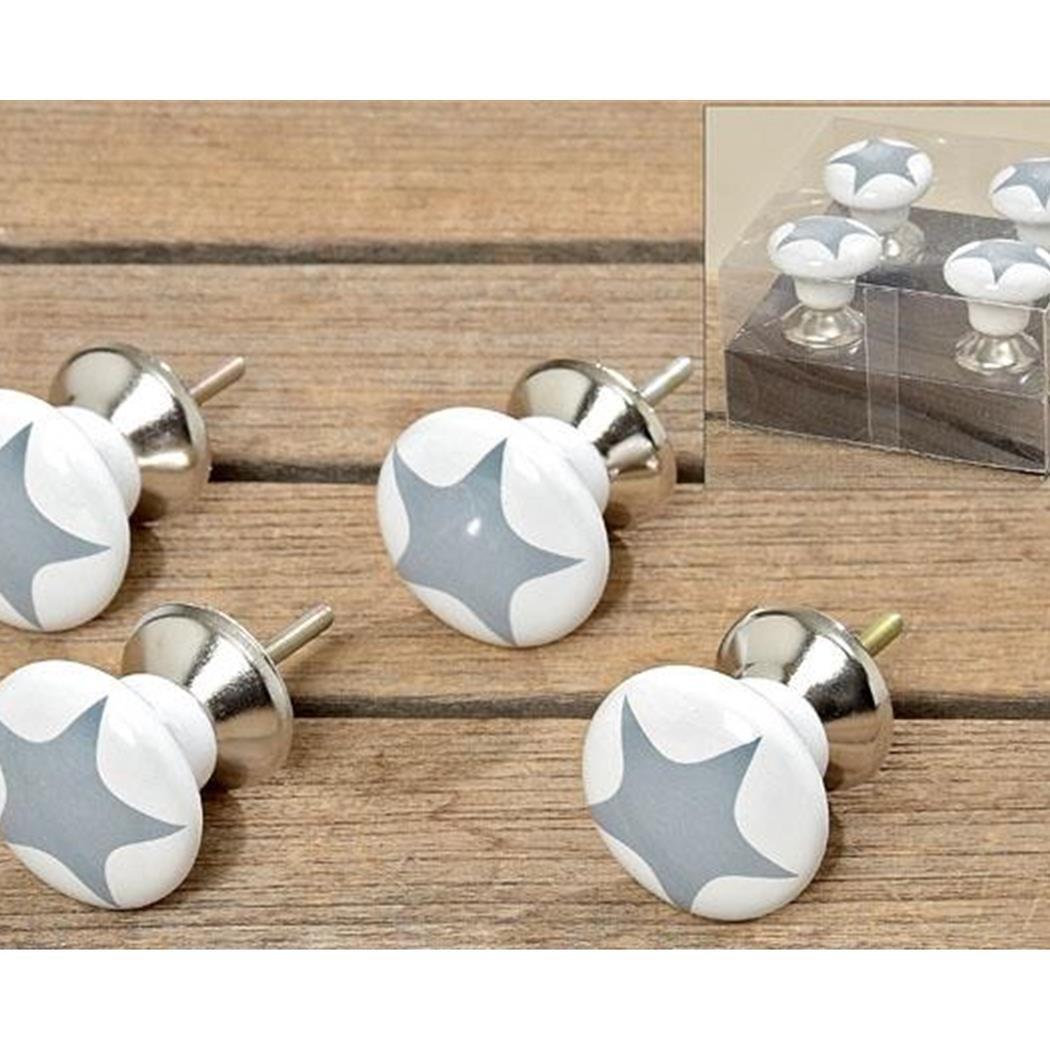Möbelknopf 4er-Set Stars Grey aus Porzellan: Amazon.de: Küche & Haushalt