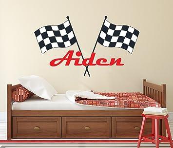 Lovely Decals World LLC Custom Racing Name Wall Decal for Boys Race Car  Theme Nursery Baby Room Mural Art Decor Vinyl Sticker LD20 (38\