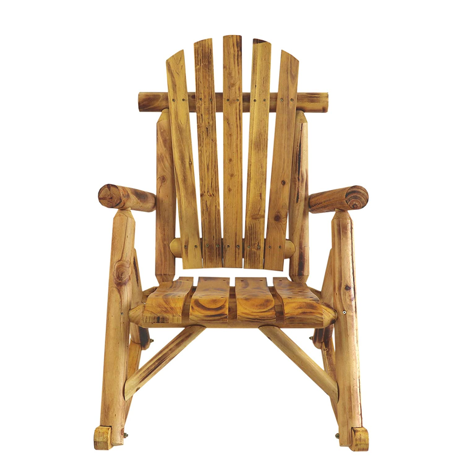 ALI VIRGO Rocking Chair Outdoor, Porch Log Stool, Ergonomics Heavy Duty Antique Lawn Leisure for Lounge Garden Patio Furniture, Wood Color