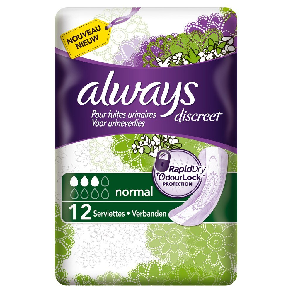 Always Discreet Normal Pads for Incontinence and Bladder Control