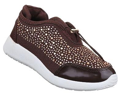 01aeba8d93b1 Damen Sneaker Schuhe Freizeitschuhe Strass Slipper Halbschuhe Schwarz Braun  36 37 38 39 40 41 - associate-degree.de