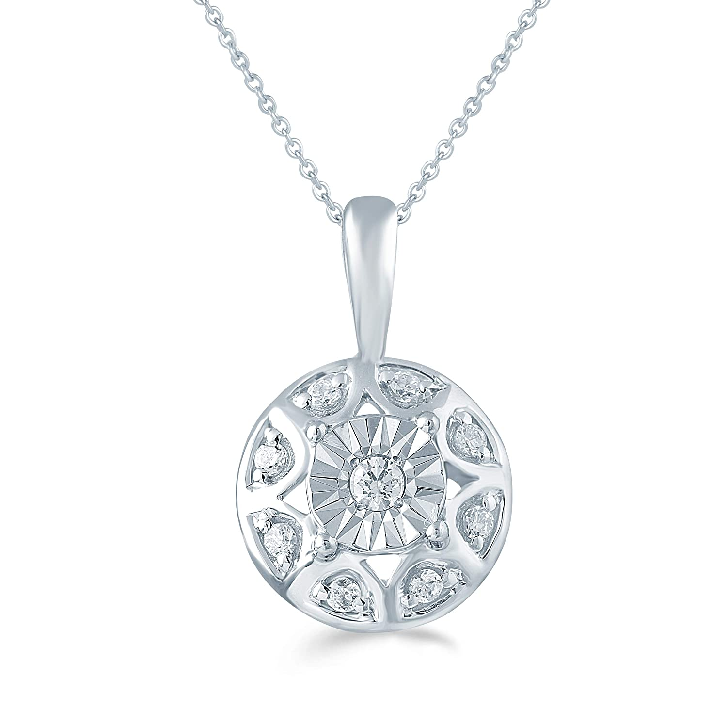 Fifth and Fine 1//10ct tw Diamond Round Cluster Fashion Pendant in Sterling Silver with 18 Cable Chain