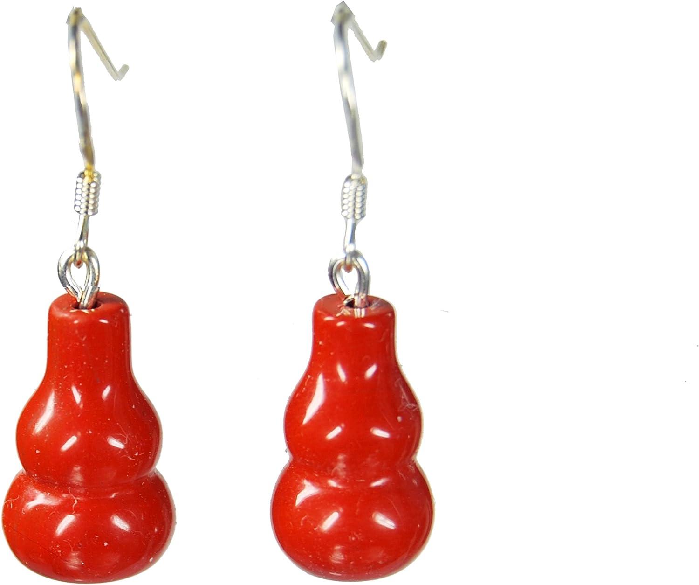 Pendientes de jaspe rojo en forma de pendiente de peras 925er de plata