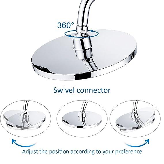 de ducha redonda con función antical, drenching lluvia alcachofa de ducha con montaje fijo giratorio 1/2 conector de bola de metal, cromo pulido: Amazon.es: ...
