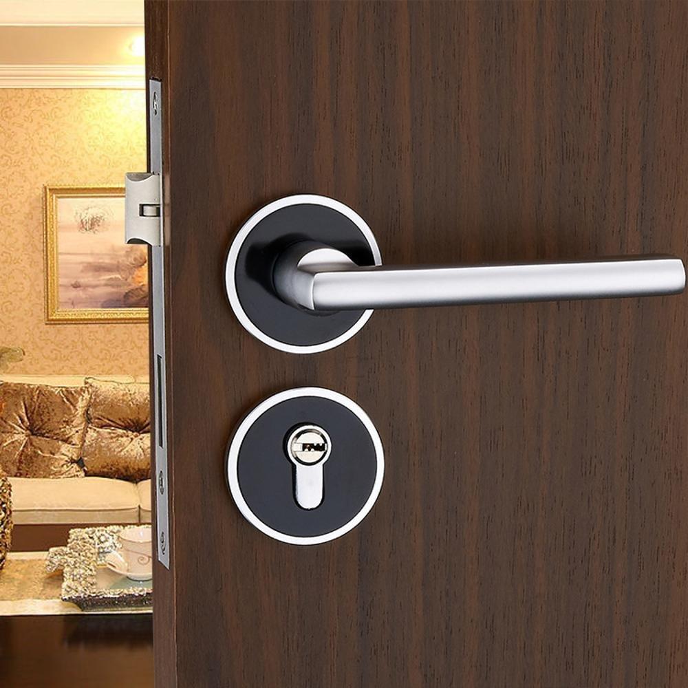 Jingzou Black space solid aluminum door locks interior bedroom locks split bearings mechanical handle locks hardware locks