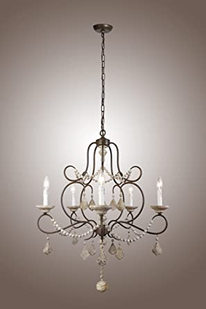 5 Lights Iron Frame Wood Beads Chandelier French Chateau Country ...