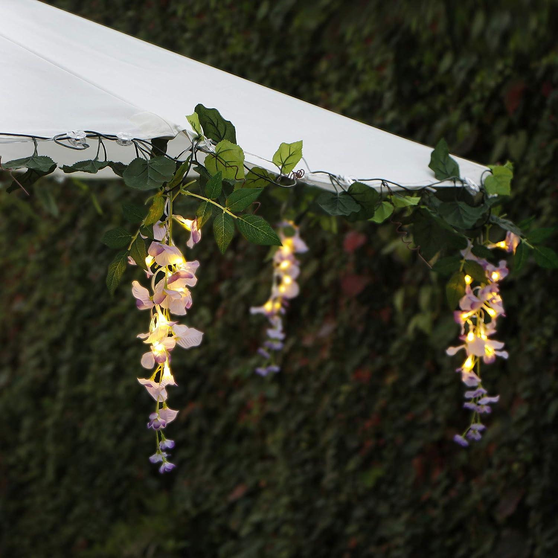 Myhlites - Luces de flores alimentadas por energía solar con batería de respaldo y mando a distancia, guirnalda de luces, luces de paraguas para el hogar, jardín, patio, pergola, dormitorio, decoración de